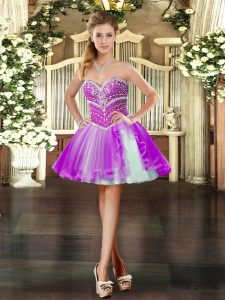 Eye-catching Purple Sleeveless Beading Mini Length Club Wear