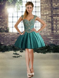 Hot Selling Teal Lace Up Straps Beading Cocktail Dresses Tulle Sleeveless