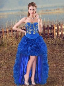 Popular Royal Blue Organza Lace Up Cocktail Dresses Sleeveless High Low Embroidery and Ruffles