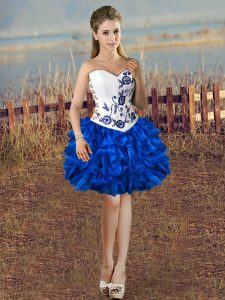 Blue And White Ball Gowns Sweetheart Sleeveless Organza Mini Length Lace Up Embroidery and Ruffles Cocktail Dress