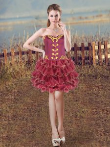 Amazing Sweetheart Sleeveless Organza Cocktail Dresses Embroidery and Ruffles Lace Up