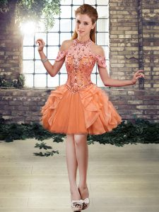 Orange Lace Up Halter Top Beading and Ruffles Cocktail Dresses Tulle Sleeveless