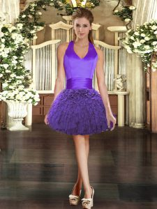 Ideal Purple Sleeveless Mini Length Ruffles Lace Up Club Wear