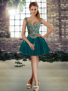 Elegant Straps Sleeveless Lace Up Cocktail Dresses Dark Green Tulle