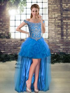 Tulle Off The Shoulder Sleeveless Lace Up Beading and Ruffles Cocktail Dress in Blue