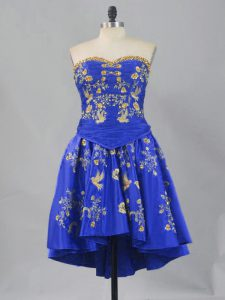 Royal Blue Cocktail Dress Prom and Party and Military Ball with Embroidery Sweetheart Sleeveless Lace Up