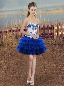 New Style Royal Blue Sweetheart Neckline Embroidery and Ruffled Layers Cocktail Dresses Sleeveless Lace Up