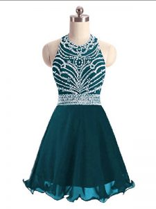 Classical Teal Sleeveless Mini Length Beading Lace Up Cocktail Dresses