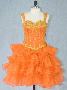 Adorable Orange Sleeveless Beading and Ruffled Layers Mini Length Cocktail Dress