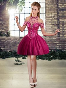 Eye-catching Fuchsia Halter Top Lace Up Beading Cocktail Dresses Sleeveless