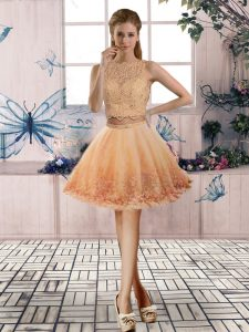 Hot Sale Scoop Sleeveless Cocktail Dress Mini Length Beading and Lace Gold Tulle
