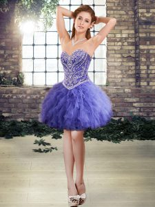 Modest Lavender Tulle Lace Up Sweetheart Sleeveless Mini Length Cocktail Dresses Beading and Ruffles