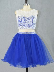 Simple Royal Blue Scoop Neckline Lace and Appliques Club Wear Sleeveless Zipper