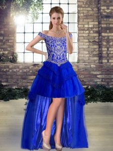 Inexpensive Royal Blue Lace Up Off The Shoulder Beading and Lace Club Wear Tulle Sleeveless