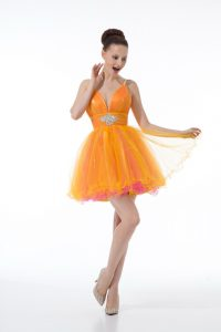 Colorful Tulle Sleeveless Mini Length Cocktail Dresses and Beading and Ruching