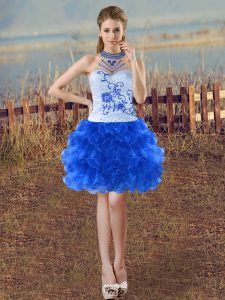Halter Top Sleeveless Organza Cocktail Dresses Beading and Embroidery and Ruffles Lace Up