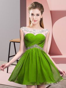 Scoop Sleeveless Cocktail Dresses Mini Length Beading and Ruching Olive Green Chiffon