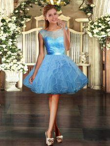 Discount Lace and Ruffles Cocktail Dress Light Blue Backless Sleeveless Mini Length