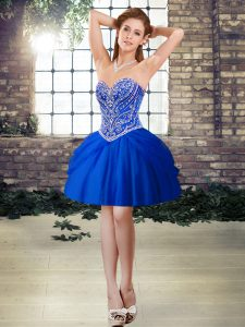 Top Selling Royal Blue Sweetheart Neckline Beading Cocktail Dresses Sleeveless Lace Up