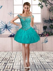 Dramatic Sleeveless Tulle Mini Length Lace Up Club Wear in Turquoise with Beading and Ruffles
