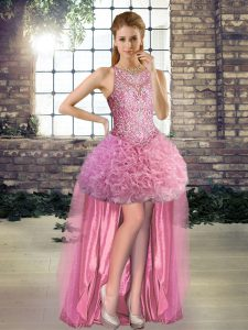Exceptional Rose Pink Lace Up Club Wear Beading Sleeveless High Low