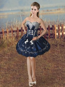 Navy Blue Sleeveless Beading and Embroidery Mini Length Cocktail Dresses