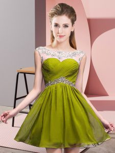 Olive Green A-line Beading and Ruching Celebrity Evening Dresses Backless Chiffon Sleeveless Mini Length