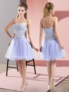 Sexy Lavender A-line Sweetheart Sleeveless Tulle Mini Length Zipper Beading Cocktail Dress