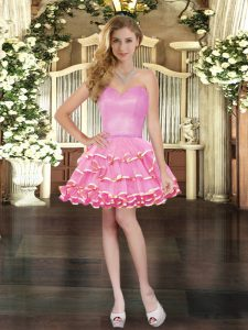 Rose Pink Organza Lace Up Sweetheart Sleeveless Mini Length Cocktail Dresses Ruffled Layers