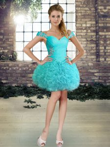 Luxury Aqua Blue Ball Gowns Fabric With Rolling Flowers Off The Shoulder Sleeveless Beading Mini Length Lace Up Cocktail Dresses
