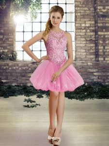 Best Selling Rose Pink Lace Up Club Wear Beading Sleeveless Mini Length
