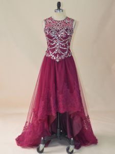 High Low Burgundy Club Wear Tulle Sleeveless Beading and Lace