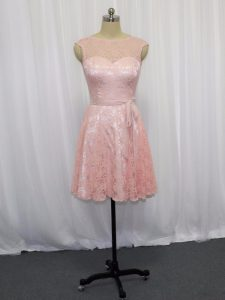 Custom Designed Pink Sleeveless Beading and Lace Mini Length Cocktail Dresses