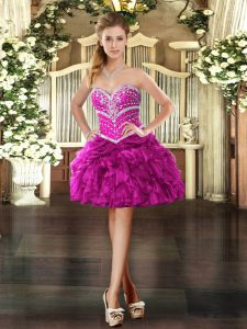 Fuchsia Organza Lace Up Sweetheart Sleeveless Mini Length Cocktail Dress Beading and Ruffles