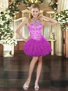 Traditional Fuchsia Cocktail Dresses Prom and Party with Beading and Ruffles Halter Top Sleeveless Lace Up
