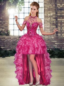Sleeveless Organza High Low Lace Up Cocktail Dresses in Fuchsia with Beading and Ruffles