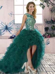 Organza Scoop Sleeveless Lace Up Embroidery and Ruffles Cocktail Dresses in Dark Green