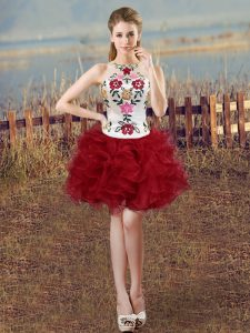 Beauteous White And Red Club Wear Prom and Party with Embroidery and Ruffles Scoop Sleeveless Lace Up