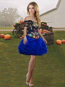 Fabulous Off The Shoulder Sleeveless Club Wear Mini Length Embroidery and Ruffles Royal Blue Tulle