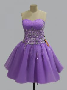 Wonderful Mini Length Ball Gowns Sleeveless Lavender Red Carpet Gowns Lace Up