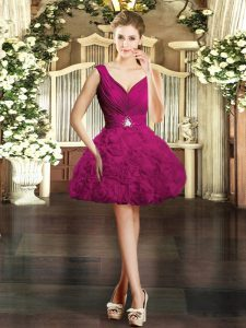 Fuchsia V-neck Neckline Beading Cocktail Dresses Sleeveless Backless