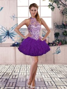 Glorious Purple Sleeveless Tulle Lace Up Cocktail Dresses for Prom and Party
