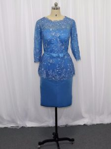 Sweet Blue Column/Sheath Lace and Appliques Cocktail Dresses Zipper Satin Long Sleeves Mini Length
