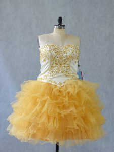 Yellow Ball Gowns Beading and Ruffles Cocktail Dresses Lace Up Tulle Sleeveless Mini Length