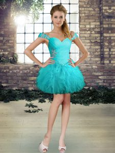 Aqua Blue Ball Gowns Tulle Off The Shoulder Sleeveless Beading and Ruffles Mini Length Lace Up Cocktail Dresses