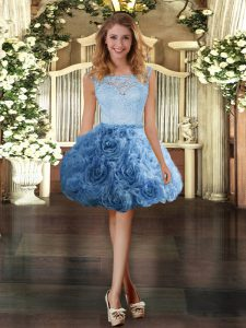 Custom Fit Blue Sleeveless Mini Length Lace Zipper Cocktail Dresses