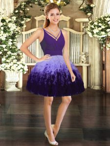 Mini Length Backless Cocktail Dresses Multi-color for Prom and Party with Ruffles