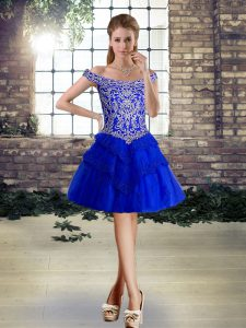 Mini Length Lace Up Cocktail Dresses Royal Blue for Prom and Party with Beading and Lace