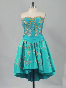 Sleeveless Mini Length Lace Up Club Wear in Turquoise with Embroidery