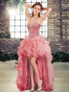 Dramatic Watermelon Red Sweetheart Lace Up Beading and Ruffles Cocktail Dresses Sleeveless